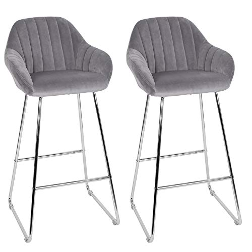 Set of 2 Grey Velvet Bar Chairs,26''Home Modern Contemporary Counter Height Upholstered Barstools,Kitchen Room Furniture