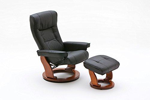 lifestyle4living Relaxsessel, Fernsehsessel, TV Sessel, Funktionsessel, Hocker, Loungesessel, Lesesessel, Relaxliege, Echtleder, Leder, schwarz, honigfarben