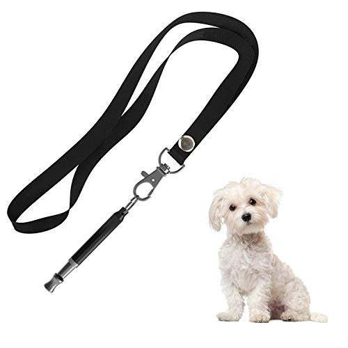 Hivernou Dog Whistle to Stop Barking, Adjustable Pitch Ultrasonic Training Tool Silent Bark Control for Dogs-1 Pack Dog Whistle with 1 Lanyard Strap