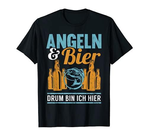 Angeln & Bier Lustiges Angler Angelrute Spruch Geschenk T-Shirt