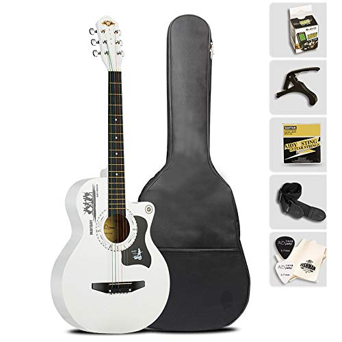 Boll-ATur Perfektes Geschenk 38-Zoll-Akustikgitarre Multicolor Optional Anfängergitarre 6 Saiten Gitarrenset Multifunktions-E-Tuner Plektren Gitarrenrucksack (Color : White)