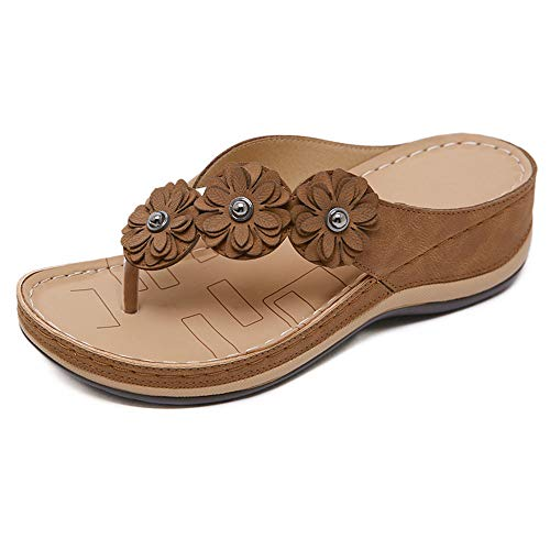 LAZZY Womens Flower Wedge Flip Flops Open Toe Casual Flats Sandals Beach Office Walking Shoes (Brown, Numeric_5)
