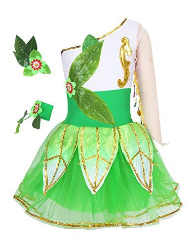 MSemis Disfraz Hada Vestido de Danza para Nias Vestido Tut Fiesta Nias Traje Baile Oriental con Accesorios Disfraces Elfo Ropa Bailarina Rendimiento Verde 3-4 Aos