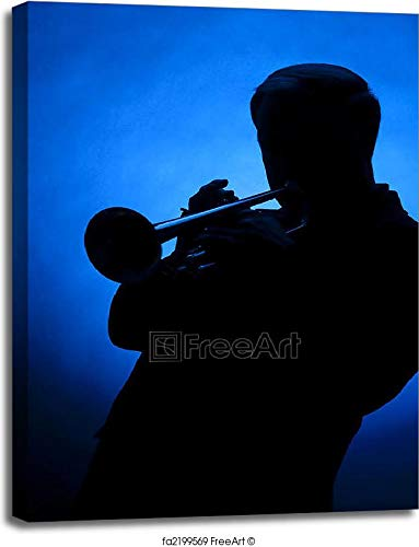 Trumpet Player Silhouette Against Blue Spot Light Gallery Wrapped Canvas Art (40in. x 30in.)