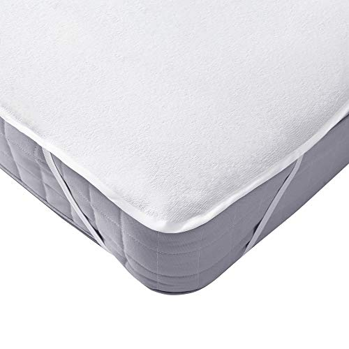 UMI. Essentials Waterproof Mattress Protector Terry Cotton Mattress Cover With 4 Elastic Corner Straps - Cot (60x120cm)