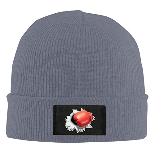 GOSMAO Unisex Slouch Beanie Mütze Rote Boxhandschuhe Warme Beanie Strickmütze Leicht und Weich für Damen und Herren