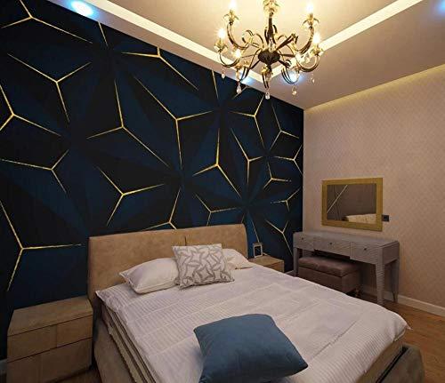 Fototapete 3d Effekt Geometrische Dunkelblaue Goldene Linien Tapete 3D Vliestapete Kinderzimmer Schlafzimmer Wohnzimmer Tapeten Wanddeko Wandbilder 150cmX105cm