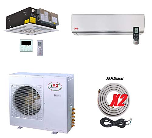 YMGI Dual Zone Ductless Mini Split Air Conditioner 36000 BTU 3 Ton 21 SEER Ductless Mini Split Air Conditioner Multi Zone 18000+18000 Wall Mount and Ceiling Cassette