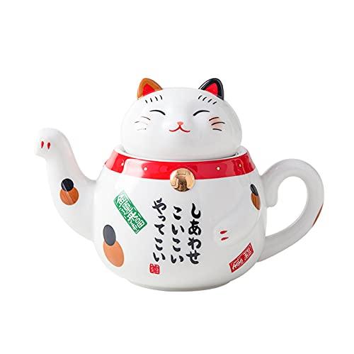 Juego de té de porcelana con diseño de gato de la suerte, creativa Maneki Neko taza de té de cerámica con colador, taza de tetera con gato Plutón, 1 bote de 300 ml
