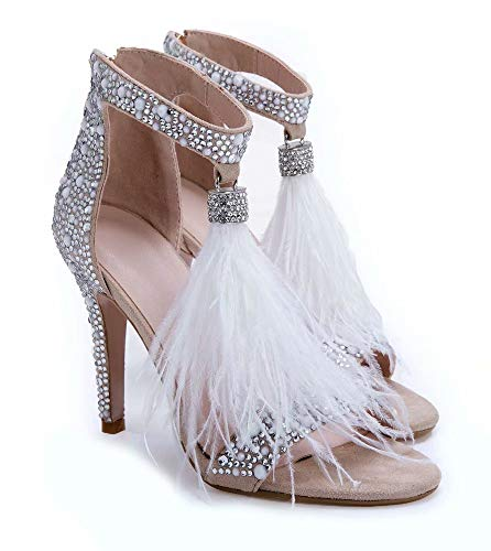 Hinyyrin Peep Toe High Heels Sandalen mit Strass und Quaste, Damenschuhe Sandalen, Hochzeitsschuhe Damen, Prom High Heels, Size 41