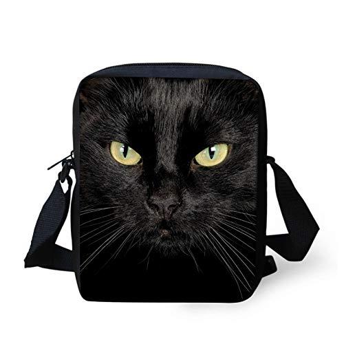 COEQINE Black Crossbody Bags for Women,Cat Pattern Shoulder Bag for Teens Handbag Large Messenger Bag Boys Casual Purses