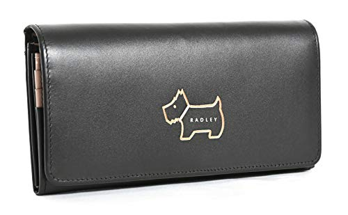 RADLEY Large Flapover Matinee Purse Heritage Dog Outline in Black Leather