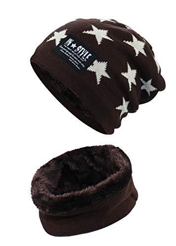 Momoon Dicke Beanie Hut +Schal Set Winter Warmen Schnee Knit Skull Cap für Kinder Jungen Mädchen(Suitable for 6-14, Stern kaffee, one size(fit teenager 6-14)