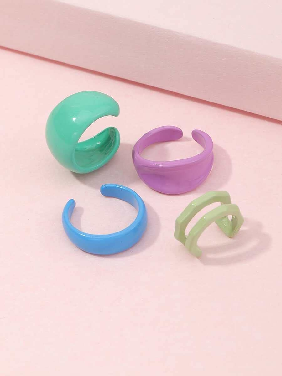 kgjsdf Hoop Earrings 4pcs Minimalist Ear Cuff (Color : Multicolor)