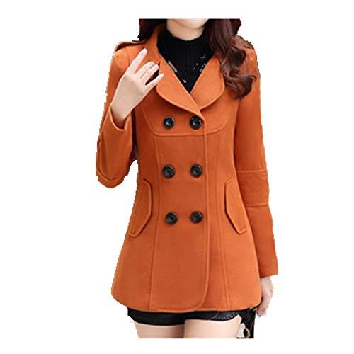 N\P Chaqueta de invierno de las mujeres Breasted Short Coat Color sólido Slim Mujer chaqueta de lana más tamaño