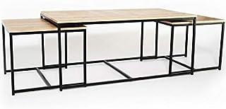 IDMarket - Lot de 3 Tables Basses gigognes Detroit 113 cm Design Industriel