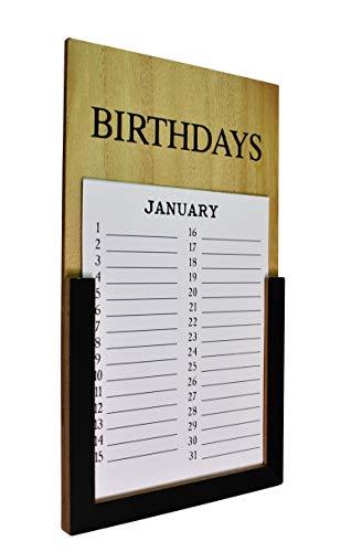 ELAFI® Geburtstagskalender jahresunabhängig   Ewiger Wandkalender für Geburtstage im Vintage Retro & Shabby Chic Stil   Wanddeko Premium Holz