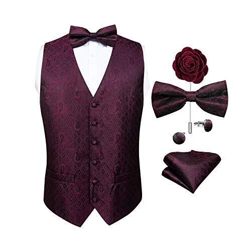 DiBanGu Ensemble gilet et cravate cachemire pour homme avec boutons de manchette et boutons de manchette carrés - Rouge - Large