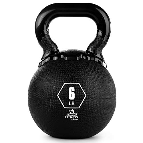 Champion Sports Rhino Kettlebell Weight, 6 lbs, Rubber, Black - Durable Kettle Bell with Smooth, Ergonomic Handle for Working Out - Free Weights for Exercises - Premium Strength Training Equipment