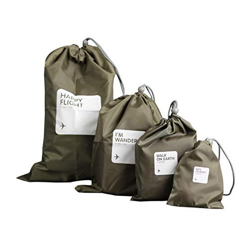 Elonglin Aufbewahrungstasche 4 Stücke Wasserdicht Tunnelzug Kleidertaschen Wäschebeutel Schuhbeutel Reise Haushalt