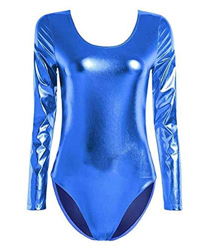 Maillot de Danza Ballet Gimnasia Leotardo Body Clásico Brillante Elástico para Mujer de Manga Larga Cuello Redondo (S, Azul)