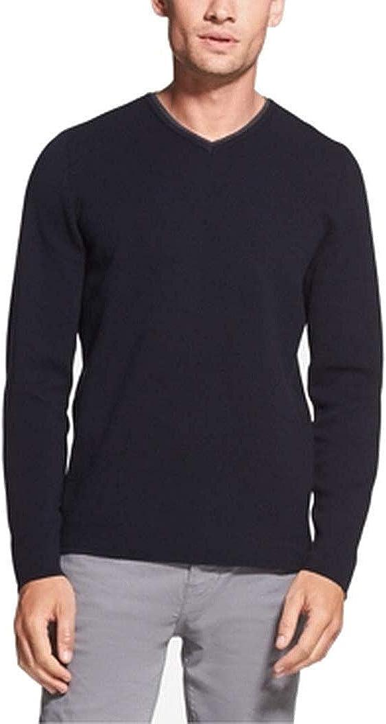 DKNY Mens V-Neck Pullover Sweater, Blue, Small