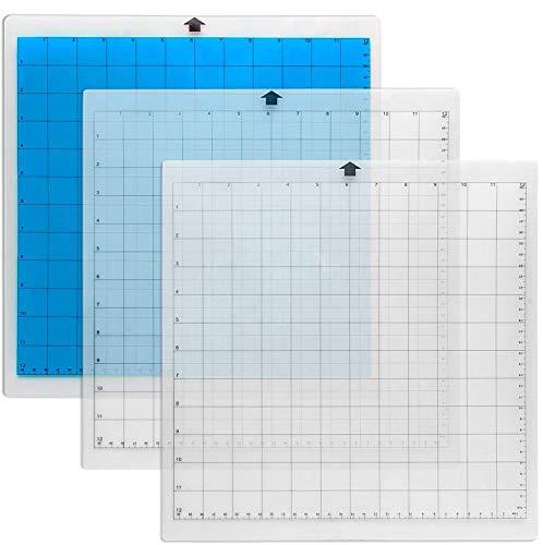Zubehör von Drittanbietern Schneidematte für Silhouette, 3er-Pack, Kameo-Schneidematte, 30,5 x 30,5 cm, Standardgriff, selbstklebend und klebrig, rutschfest, flexibel, gitternetzt