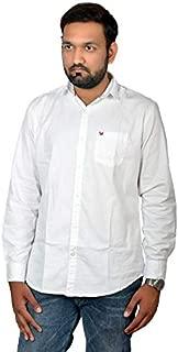 Darien Range White Plain 100% Cotton Slim Fit Casual Shirt
