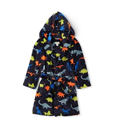 Hatley Jungen Fuzzy Fleece Robe Dressing Gown Bademantel, Blau (Dino Herd 400), Small