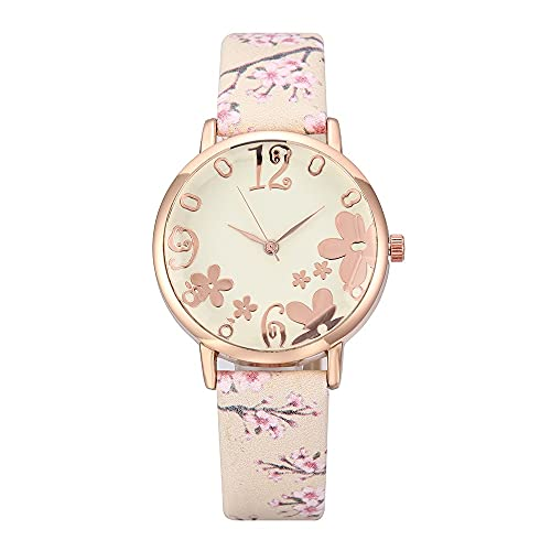 Ladies Watches, Fashion Embossed Watches, Small and Fresh Printed Belts, Student Quartz Watches (Color : Beige)