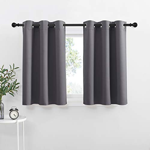 NICETOWN Kitchen Curtains Blackout Drapes - Thermal Insulated Blackout Grommet Curtains Drapes Window Treatment Home Decor for Basement / Dorm (42W by 36L + 1.2 inches Header, Grey, 1 Pair)