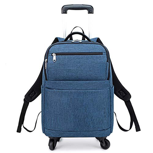 FREETT Unisex Trolley Backpack, Lightweight Wheeled Laptop Backpack for Boarding and University, Travel Luggage Case Bag, Waterproof, 32 * 17 * 45 cm,Blue