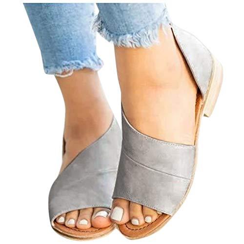 Übergroßer Sandalen für Damen/Dorical Frauen Sommer Retro-Peep-Toe-Sandalen mit seitlicher Abdeckung Damenschuhe Mode einfache PU-Leder Schuhe rutschfest 35-43 EU Ausverkauf(Grau,38 EU)