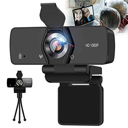IPXOZO Web Cam,1080P HD Webcam with Microphone and Tripod Mini USB Computer Camera PC Web Camera for Desktop Laptop Video Webcam for Video Conference Meeting Recording Streaming,Black Color