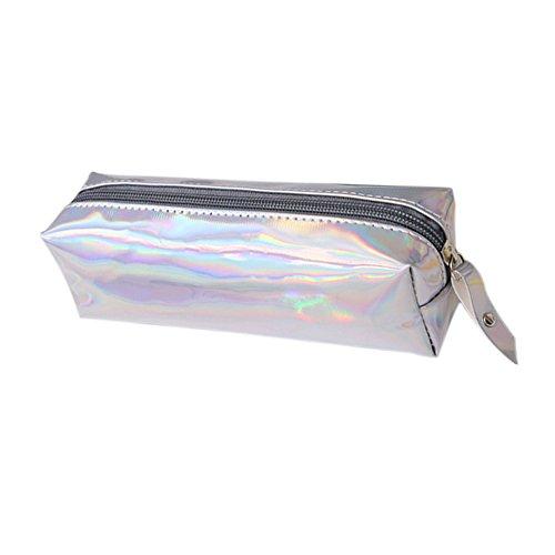 Dosige opbergtas in solide kleur, etui, make-uptasje, voor het leren van belangrijke dingen op kantoor. 19 * 9 * 6CM zilver.