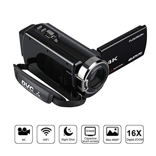 FLOUREON Videocamera 4K WIFI Ultra HD, Zoom Digitale 16x,...
