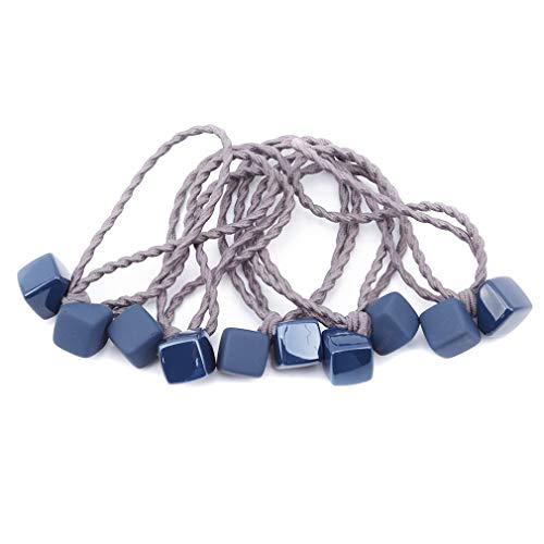 Hengxing Lot de 5 élastiques à Cheveux en Corde avec Pendentif carré en Caoutchouc tressé, Acrylique, Bleu Marine, As Description