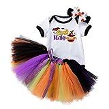 Baby Kleidung Mädchen 3-Teilige Halloween Babykleidung Set Strampler Kurzarm Rundhals Kürbis...