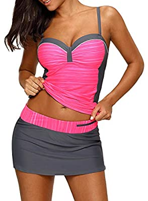 Actloe Women Ruched Color Block Tankini Swimwear with Skirted Swim Bottom Two Pieces Swimsuit As Shown Medium