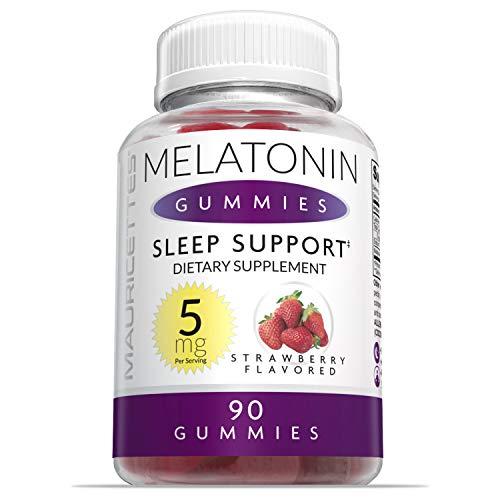 Melatonin Gummies for Kids and Adults Chewable Sleep Aid - 5mg Melatonin Per Serving - 90 Strawberry Gummy Vitamins (Packaging May Vary)