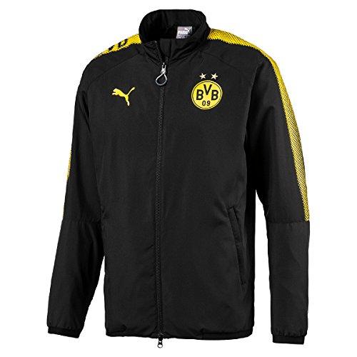 PUMA Erwachsene BVB Leisure JKT Without Sponsor Logo with 2 Side Pockets wit Jacke, Black Black, XXL