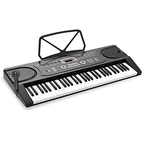 LAGRIMA LAG-300 61 Key Portable Electric Keyboard Piano w/ 3-step Teaching, Built In Speakers, Digital Display, Microphone, Dual Power Supply, Music Sheet Stand for Beginner (Kid & Adult) Black