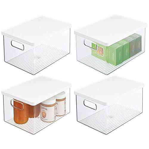 mDesign Juego de 4 cajas organizadoras de plástico – Recipiente para guardar alimentos con tapa y asas – Organizador para nevera, cocina y despensa apto para alimentos – transparente/blanco