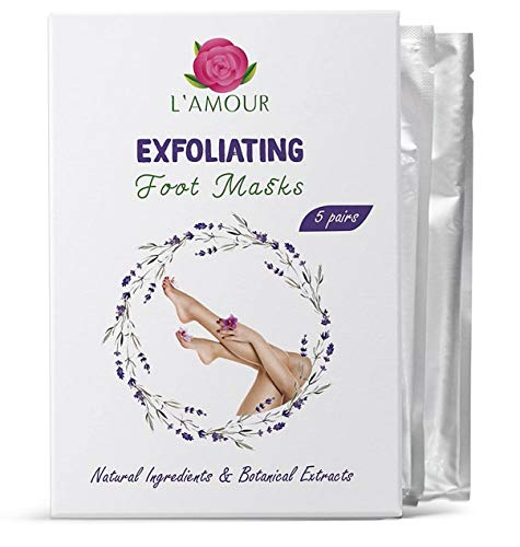 5 Pairs of Exfoliating Foot Peeling Masks | Peels Away Dead Skin & Removes Calluses for Baby Soft Feet | Premium Quality | By L'AMOUR yes!