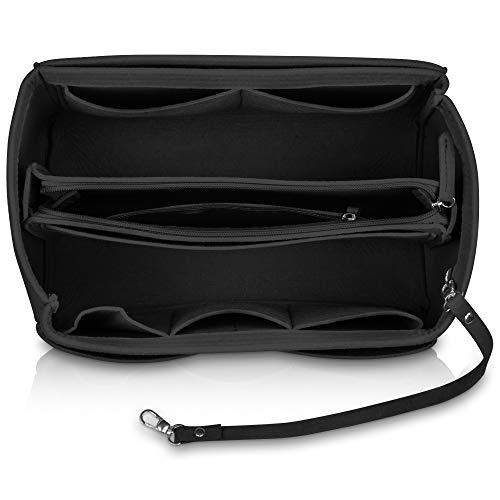 umatter ® Handtaschen Organizer aus Filz mit Schlüsselanhänger und Sicherheitsfach - Ideal als Taschenorganizer baginbag der Handtasche, Bag Organizer (Schwarz, M)