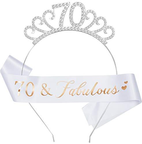 WILLBOND Set di Costumi di Buon Compleanno, Include Diadema di Cristallo Corona di Compleanno e Sash per Bomboniere (Stile Anni 70)