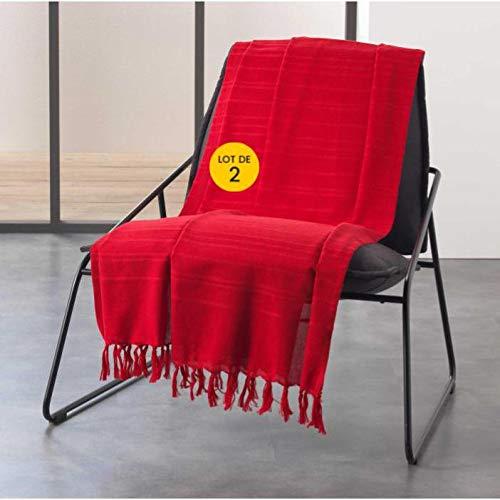 CDaffaires - Set di 2 teli per divano a frange, 220 x 240 cm, in cotone, colore: Rosso