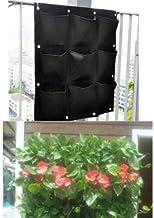 everd1487HH 9-Pockets Planting Bag Vertical Hanging Wall Planter Bag Growbag Fruit Flowers Garden Decor, Non-Toxic, Grow B...