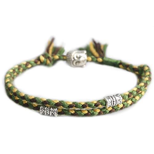 STYLE4-NATURE® Tibetisches Buddhistisches Glücksarmband für Männer u. Frauen Glückssymbole & Buddha-Kopf Verstellbar Armband & Fußkettchen