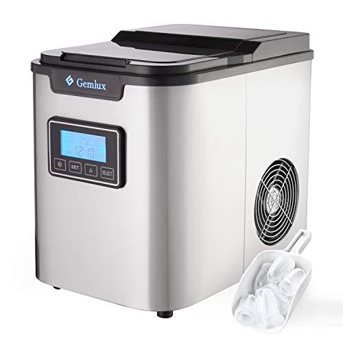 Gemlux Eiswürfelmaschine Edelstahl, Tragbar Eismaschine für Zuhause und Bar, 2.2L, 12kg/24h, 3 Eiswürfel Großen, Leise Eiswürfelbereiter, Ice Maker für Softdrinks, Cocktails & Eistee